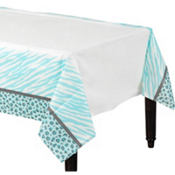 Blue Safari Baby Shower Table Cover 54in x 102in