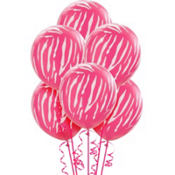 Pink Zebra Print Latex Balloons 12in 6ct