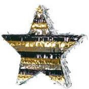 Black, Silver& Gold Foil Star Pinata 18in
