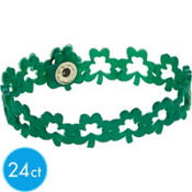 St. Patricks Day Shamrock Bracelet 24ct<span class=messagesale><br><b>49¢ per piece!</b></br></span>