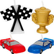 Racecar Birthday Cake Candle Set 4ct