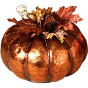 Metal Autumn Pumpkin Decoration 6in