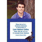 Royal Blue Congrats Grad Custom Photo Invitation