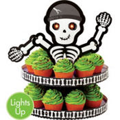Light-Up Skeleton Cupcake Stand Holds 24