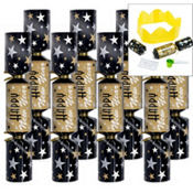 Black, Silver & Gold New Years Crackers 9 1/2in 8ct