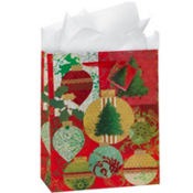 Large Glitter Ornaments Gift Bags 12 1/4in 8ct