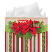 Large Poinsettia Gift Bag 12in