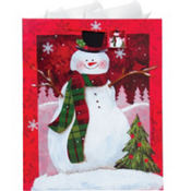 Jumbo Christmas Snowman Gift Bag 17in