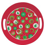 Round Printed Christmas Tray 10in