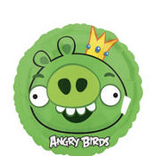 Foil Angry Birds King Pig Balloon 18in