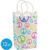 Peace Sign Mini Gift Bag 12ct