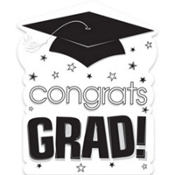 White Congrats Grad Cutout 15in
