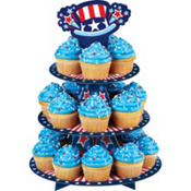 Patriotic Uncle Sam Cupcake and Treat Stand 16in