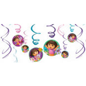 Dora the Explorer Swirl Decorations 12ct