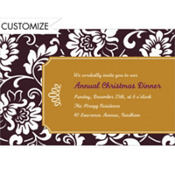 Black & Gold Damask Border Custom Invitation