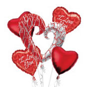 Foil XO Heart Pattern Valentines Day Balloon Bouquet 5pc