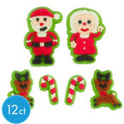 Santa & Reindeer Icing Decorations 12ct