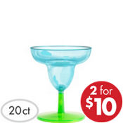 Mini Blue Plastic Margarita Glasses 20ct