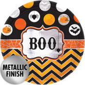 Metallic Modern Halloween Lunch Plates 8ct
