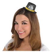 Black Happy New Year Glitter Mini Top Hat