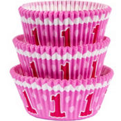 Pink 1st Birthday Baking Cups 75ct