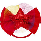 Sequin Star Red Bow Hair Tie