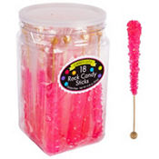 Bright Pink Rock Candy Sticks 18pc