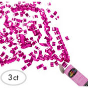 Bright Pink Confetti Party Poppers 3ct