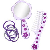 Purple Comb, Mirror & Hair Ties Set 8pc