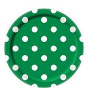 Festive Green Polka Dot Lunch Plates 8ct
