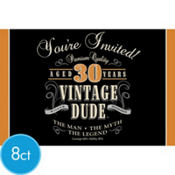 Vintage Dude 30th Birthday Invitations 8ct