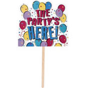 Balloon Party The Party's Here Yard Sign 14in x 15in