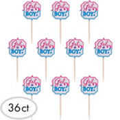 Girl or Boy Gender Reveal Cupcake Picks 36ct