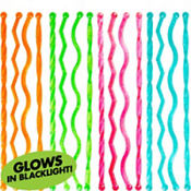Black Light Neon Plastic Drink Stirrers 24ct