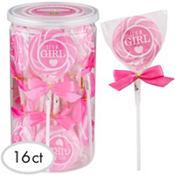 Bright Pink It's a Girl Swirly Lollipops 16ct