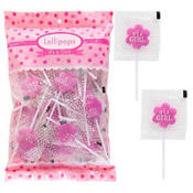 Pink It's a Girl Flower Lollipops 48ct