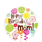 Foil Heart Mom Happy Birthday Balloon 18in