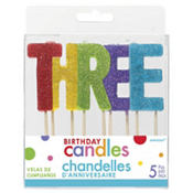 Glitter Multicolor Three Birthday Toothpick Candles 5ct