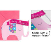 Premium Pink Elephant Baby Shower Invitations 8ct