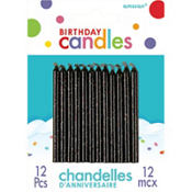 Glitter Black Birthday Candles 12ct