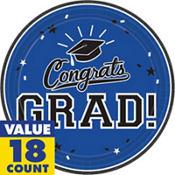 Royal Blue Congrats Grad Graduation Party Supplies
