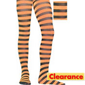 Child Orange and Black Striped Tights