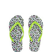 Child Green Leopard Flip Flops