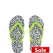 Child Green Leopard Flip Flops