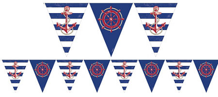 Striped nautical theme party party city quick shop striped nautical pennant banner pronofoot35fo Choice Image