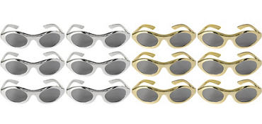 Gold and Silver Metallic Oval Sunglasses 12ct