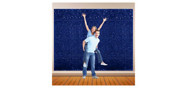 Royal Blue Vinyl Floral Sheeting