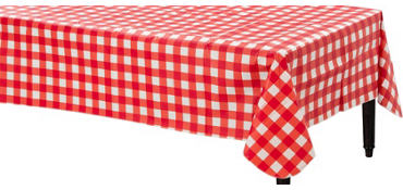 American Summer Red Gingham Flannel-Backed Vinyl Table Cover