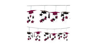 Berry 3D Grad Cap Graduation Garland 12ft