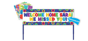 Personalized Polka Dot Yard Sign 15in x 48in